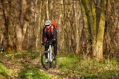 Roweru Górskiego cyklista jedzie pojedynczego ślad Obraz Royalty Free