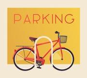 Roweru parking Bicyklu znak dla sieci lub druku obcy kreskówki kota ucieczek ilustraci dachu wektor Obrazy Stock