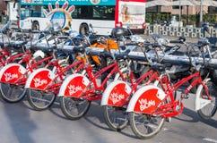 Roweru parking w Barcelona, Hiszpania Obraz Stock