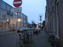 Rowery na ulica w Groningen przy półmrokiem holandie obrazy stock