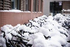 Rowery zakrywający śniegiem Zdjęcia Stock