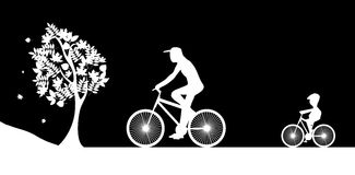 Rowerzyści i drzewo ilustracyjny wektor royalty ilustracja