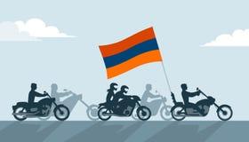 Rowerzyści na motocyklach z Armenia flaga ilustracja wektor