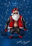 rowerzysta Claus Santa Zdjęcia Stock