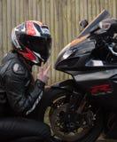 Rowerzysta dziewczyna GSXR 750 i Suzuki Zdjęcia Stock