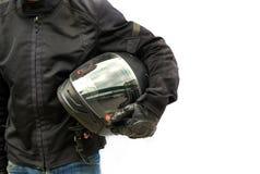 Rowerzysta z hełmem odizolowywającym obraz stock