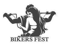 Rowerzysty Fest emblemat ilustracja wektor