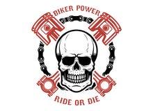 Rowerzysty władza, przejażdżka lub kostka do gry, Ludzka czaszka z krzyżującymi tłokami Projektuje element dla loga, etykietka, e ilustracji