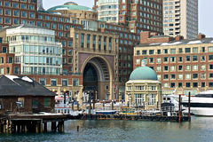 Rowes wharf. Mid day at rowes wharf in boston massachusetts at the harbor Royalty Free Stock Photos