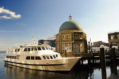 Rowes Wharf pavilion in Boston, MA royalty free stock image
