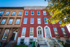 Rowhouses on Franklin Square, in Baltimore, Maryland. stock photography