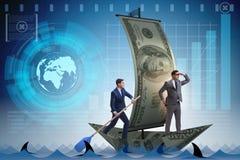 Rowing бизнесмена на шлюпке доллара в концепции дела финансовой Стоковая Фотография