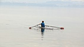 Rowing. Alone young man rowing on the sea in the winter at fog stock photos