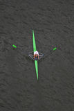 Rowing. A top view of a member of the Rowing Sport Clube of Porto; Portugal - Sailing in the Douro river during the Winter National Championships stock photography