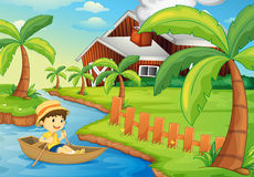 Rowing. Illustration of a boy in a boat at a farm vector illustration