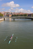 Rowing across Lyon Royalty Free Stock Photo
