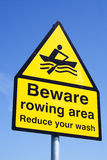 Rowing area warning sign Royalty Free Stock Photo