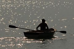 Rowing boat. A quiet morning on Lake Thun in Switzerland Stock Photography