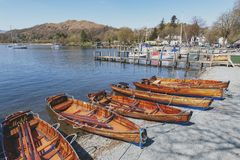 Free Rowing Boat At Waterhead Pier In Ambleside, A Lakeside Town By Windermere Lake Within The Lake District National Park In England Stock Image - 119614951