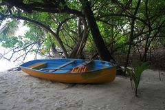 Rowing boat on beach Stock Photo