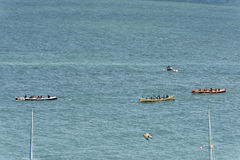 Rowing boat in competition at Clovelly, Devon Stock Photos