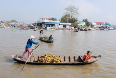 Rowing boat at floating market Mekong River Stock Photography