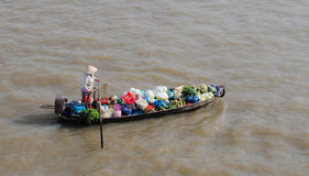Rowing boat at floating market Mekong River Stock Images