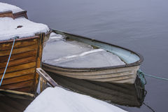Rowing boat full of water and ice Royalty Free Stock Photo
