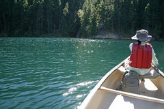 Rowing boat in the lake stock photo