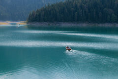 Rowing boat on the lake Stock Photography