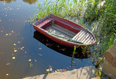 Rowing boat on lake Stock Photo