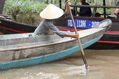 Rowing Boat in Mekong Delta Stock Images