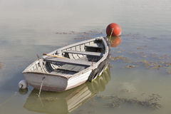 Rowing boat moored on lake Balaton, Hungary. Royalty Free Stock Images