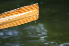 Rowing boat oar. Row boat oar drips water off the paddle into the river Stock Photo