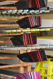 Rowing boat oars. Stacked neatly in shed Stock Image