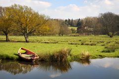 Rowing boat on river bank. A painted wooden rowing boat is moored on the banks of the river Wey in the UK. The boat is reflected in the calm water and a field royalty free stock photo
