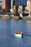 Rowing boat on River Clyde stock images