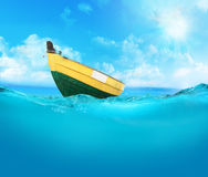 Rowing boat on the sea. Royalty Free Stock Photo