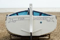 Rowing boat at seaside stock photo