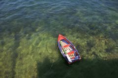 Rowing boat in shallow water Asurias Spain Stock Photos