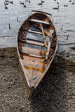 Rowing boat on shore of Derwent Water, Keswick. Royalty Free Stock Photos