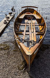 Rowing boat on shore of Derwent Water, Keswick. Stock Image
