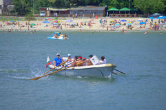 Rowing boat by Varna beach Royalty Free Stock Images