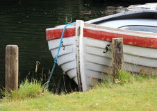 Rowing boat in water at grass field Stock Photography