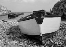 Rowing boats BW Stock Photos