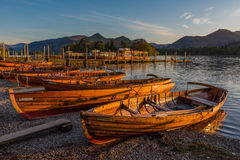 Rowing boats at Derwent Water Stock Photography