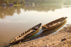 Rowing Boats fishing in the morning on Sakae Krang River, Uthai. Thani, Uthai Thani is small town in central Thailand Royalty Free Stock Photo