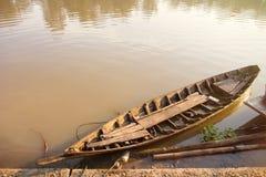 Rowing Boats fishing in the morning on Sakae Krang River, Uthai Royalty Free Stock Image