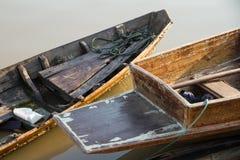 Rowing Boats fishing in the morning on Sakae Krang River, Uthai Stock Image