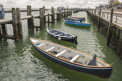 Rowing boats in the harbour of West Terschelling Stock Photography